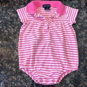 Ralph Lauren Baby Girl Stripe Polo Bodysuit